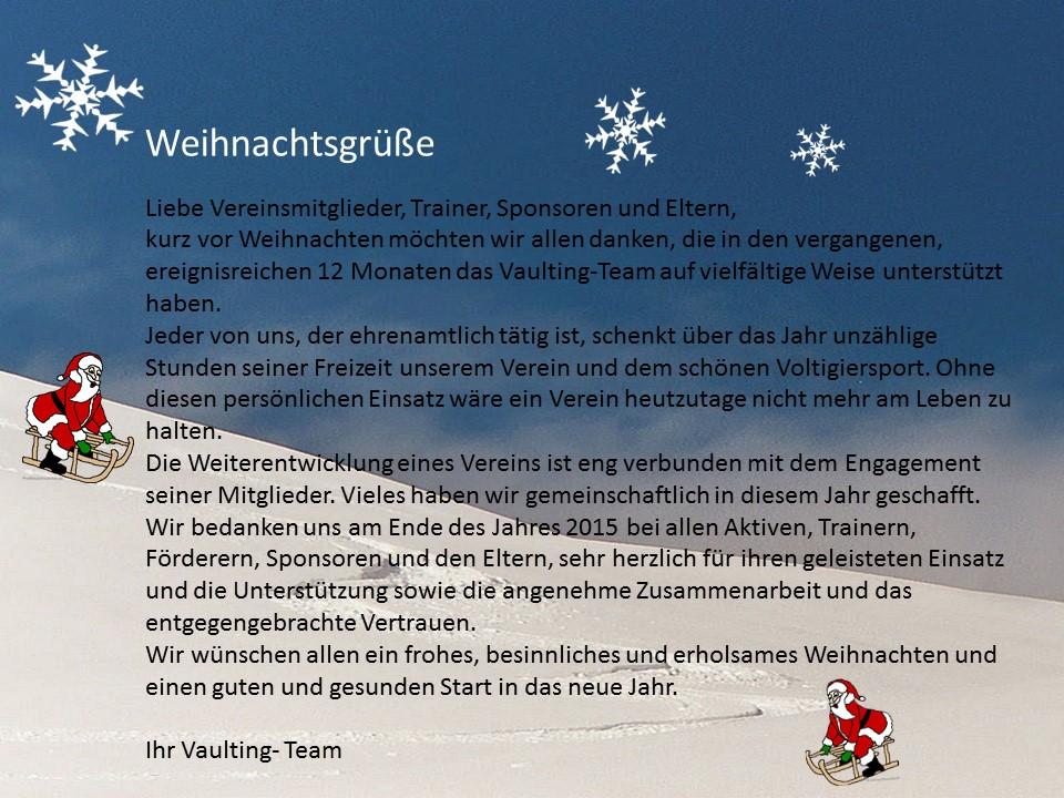 Weihnachtsgrüße Team.Weihnachtsgrüße Vom Vaulting Team Vaulting Team Seukendorf